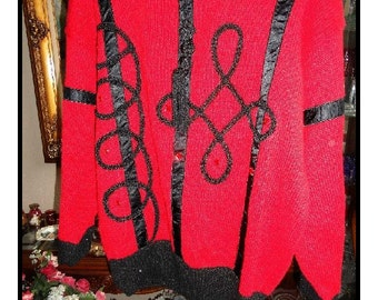 Red and Black Sweater by Bonnie & Bill by Holly - Vintage Fire Engine Red w Black Trim   Size S  CLO-058a-110813020