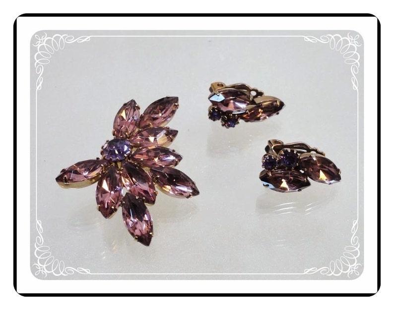 Amethyst Brooch Set Vintage Purple Rhinestones     Demi-1604a-121012000