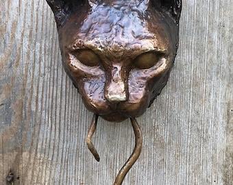 Cat Door Knocker Bronze Sculpture