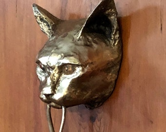 Cat Door Knocker Bronze Sculpture NEW PATINA