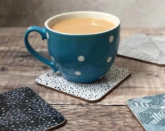 Illustrated tea and coffee coasters