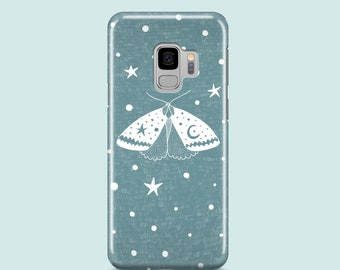 Teal Moth Samsung S10 case / butterfly iPhone SE 2020 case / Celestial Samsung Galaxy S10, Samsung Galaxy S8, Samsung S7, iPhone XR, XS, X