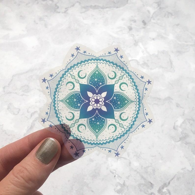Green Mandala vinyl sticker Celestial Mandala clear sticker Green
