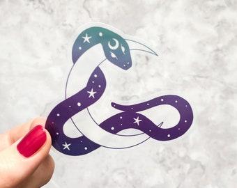 Snake and Moon vinyl sticker, Holographic snake sticker, Clear glossy vinyl sticker, ombre snake sticker 8 cm wide, laptop sticker