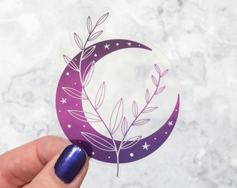 Clear Moon and branch sticker, moon goddess laptop sticker, holographic vinyl sticker, ombre witchy decor, celestial moon sticker