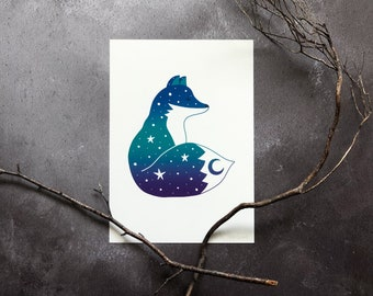Fox print, celestial A5 art print, witchy animal wall decor, forest animal illustration print