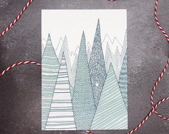 Mountains Print / Teal Mountains / A6 print / Mini art print / Graphic art / Contemporary art / Postcard / Nursery art