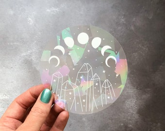 Suncatcher sticker, suncatcher decal with moon phase and crystal illustration, moon phases sun catcher window sticker