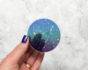 Zodiac vinyl sticker, Clear star sign sticker, glossy vinyl sticker, ombre zodiac sticker 7 cm diameter, laptop sticker, celestial sticker