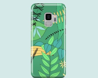 Green leaves Samsung S10 case / spring iPhone 11 pro case, Samsung S9, Samsung S8, Samsung S7 / green iPhone XR, iPhone XS, iPhone SE 2020