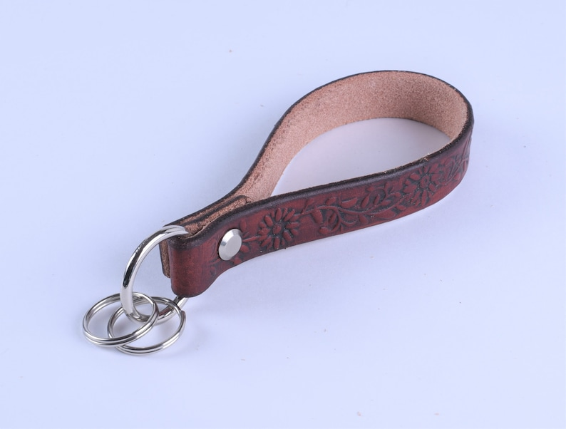 Key Fob Wristlet Keychain Leather Wristlet Genuine Leather leather Key Ring Leather Key Chain Key Chain 34 Inch Wide Wristlet