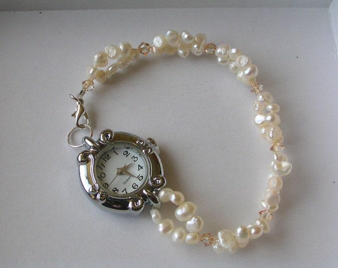 Featured listing image: Ivory Freshwater Pearl Swarovski Crystal Watch, bridal watch, Pearl watch, freshwater pearl watch, pearl jewellery, Ivory pearls, wedding