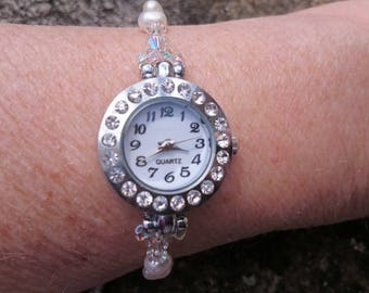 Freshwater ivory pearl Watch, crystal watch face,bridal watch, gift for her, mother of the bride, bridesmaid ivory watch.