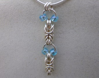 Byzantine chainmaille Pendant with Blue Topaz seed beads, Chainmaille, blue pendant, chain, Chainmaille necklace