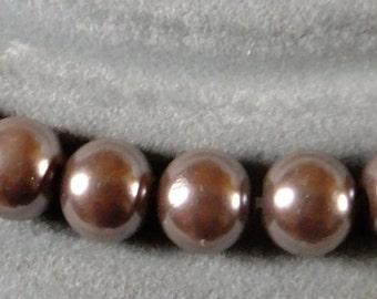 Brown glass pearls, 8mm glass pearls, taupe pearls, Jewellery making, craft supplies
