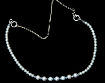 Swarovski Elements White Pearl and Crystal Necklace