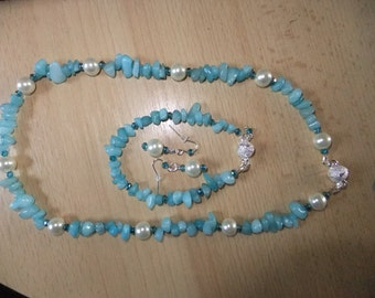 Blue jade necklace set, Blue swarovski, Sterling silver, Ladies necklace