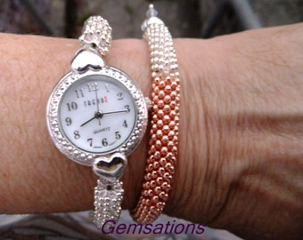 Silver snowflake watch, ladies watch, silver watch, two tone watch, watch set, bracelet watch set, gift for her