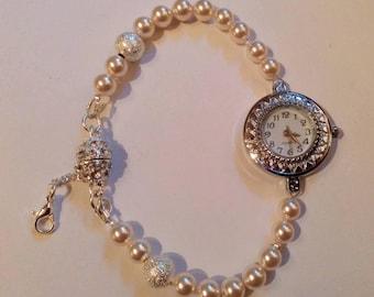 Swarovski pearl shambala watch, Ladies watch, Swarovski Elements, gift for her, mother's day gift, Bridal watch, cream pearl watch.