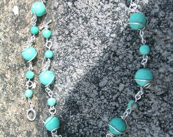 Sterling silver wire wrapped  Turquoise gemstone necklace, Sterling silver turquoise necklace