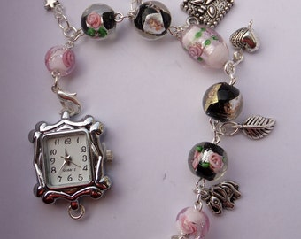 Ladies charm bracelet watch, charm bracelet, ladies watch, gift for her, Mother's day gift, Birthday for her, watch, silver watch, handmade