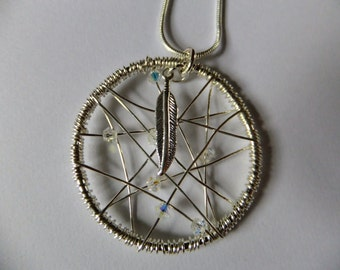 Sterling silver spiders web dream catcher pendant, Ladies pendant