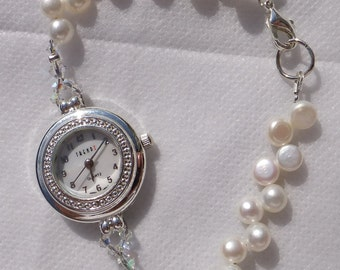White Freshwater Pearl Watch, bridal watch, gift for her, mother of the bride, bridesmaid, crystal watch, ivory watch, ivory pearls