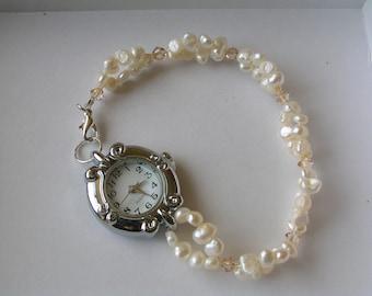 Ivory Freshwater Pearl Swarovski Crystal Watch, bridal watch, Pearl watch, freshwater pearl watch, pearl jewellery, Ivory pearls, wedding