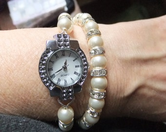 Pearl watch and bracelet set, bridal watch, bridal bracelet, Cream pearl watch, gift for her