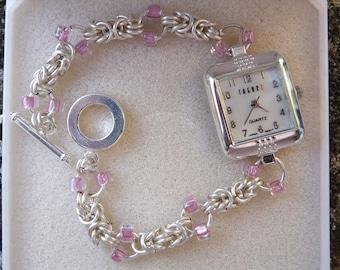 Byzantine chainmaille watch with Mauve seed beads, Chainmaille watch, ladies watch, gift for her, silver watch, watch, byzantine