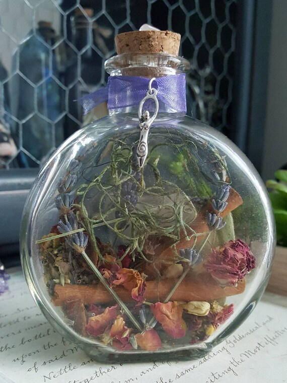 Home Blessing Witch Bottle Herbal Blessing Yule Decor Etsy