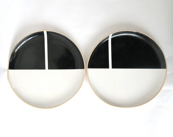 minimalist ceramic plates, black and white, hand painted - made in france - perfect gift - christmas gift