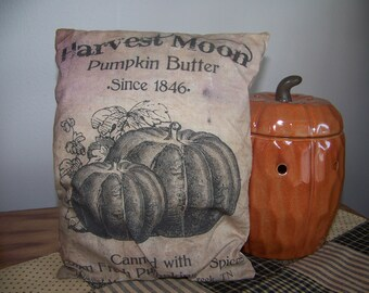 Primitive Fall Feedsack Logo Pumpkin Butter Pillow Autumn Decor