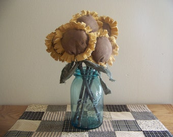 Set of 3 Primitive Sunflowers On Sticks