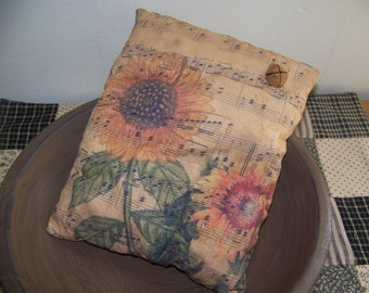 Primitive Sunflower Vintage Logo Pillow