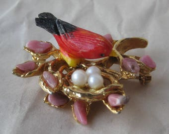 Bird Red Orange Nest Brooch Stone Pearl Gold Pin Vintage Swoboda