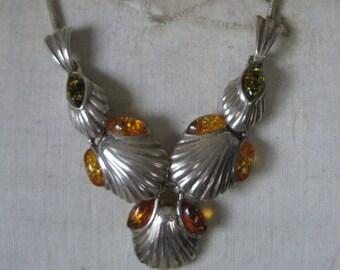 Amber Shell Sterling Necklace Vintage 925 Silver Bib