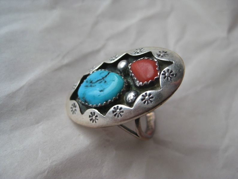 Turquoise Coral Sterling Ring Vintage Stone Shadow 925 Silver Size 7 14 Blue Native American