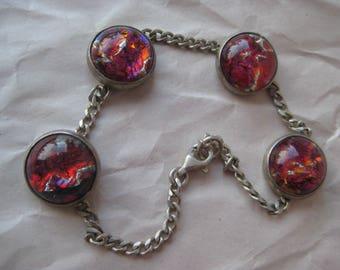 Pink Foil Glass Bracelet Sterling Vintage Cab Chain Silver 925 Round
