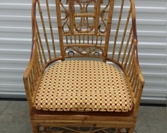 Thomasville Bamboo Chair Vintage Pavilion Style Chair Bamboo Arm Chair  Tortoise / Chinoiserie Bamboo Chair Bamboo Side Chair
