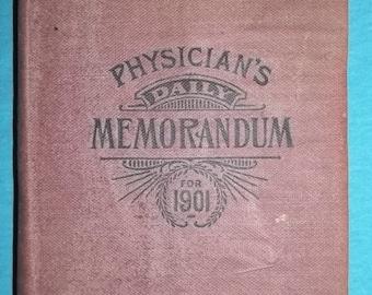 "Antique Book 1901 Physican's Daily Memorandum Personal Agenda Desk Calendar ""Gude's Pepto-Mangan"" Antique Book Free Shipping"