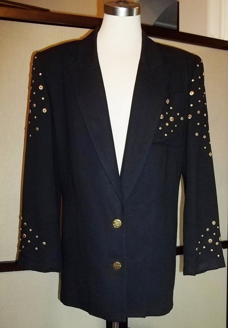 a487605b44 Women Blazer Criscione Woman Jacket Tailored Jacket Black With Gold Studs  Blazer Rocker Brass Studded Jacket Free Shipping