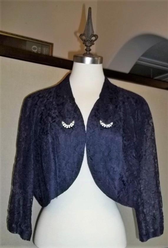 Women Jacket 40's Lace Waist Jacket Lace Bolero J… - image 1