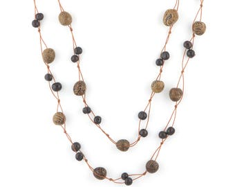 Acai Seed Necklace / Brown Navy Necklace / Long Necklace / Acai Seed Jewelry / Seed Jewelry / Fair Trade / Long Layering Necklace