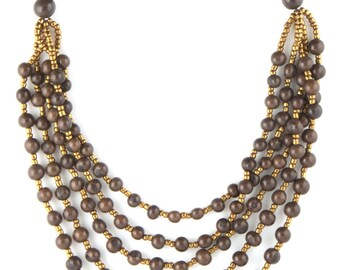 Acai Seed Necklace / Acai Jewelry / Seed Necklace / Seed Jewelry / Grey Necklace / Acai Statement Necklace / Fair Trade Jewelry