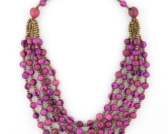 Acai Seed Necklace / Acai Jewelry / Seed Necklace / Seed Jewelry / Pink Necklace / Acai Statement Necklace / Fair Trade Jewelry