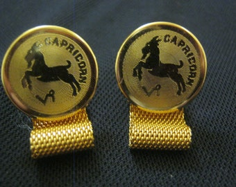 Vintage Dante Cuff Links With Mesh Wrap - Dante Capricorn Zodiac Cuff Links - Dante Gold Tone Cuff Links