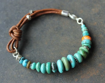 Colorful boho bracelet -Sundance Style leather, spiny oyster turquoise stacking bracelet, summer jewelry, birthday gift for her, Mothers Day