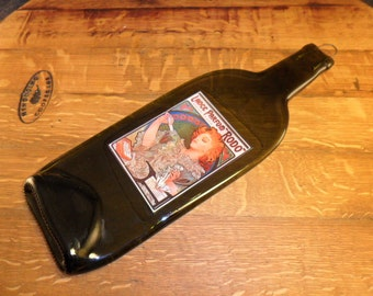 Flattened  Wine Bottle Artwork  Label Lance parfum Rodo -  Makes Great Wall Hanging or Cheese Tray or Board