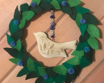 "Peace Dove Felt Wreath 8"""